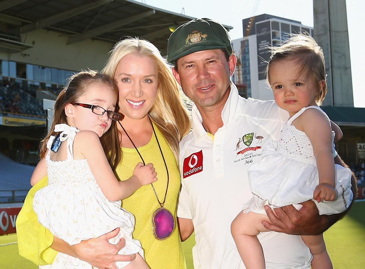 PERTH, AUSTRALIA - DECEMBER 03:  Ricky Ponting of Australia poses with his wife Rianna, and their children, Emmy and Matisse after day four of the Third Test Match between Australia and South Africa at WACA on December 3, 2012 in Perth, Australia.  (Photo by Robert Cianflone/Getty Images)
