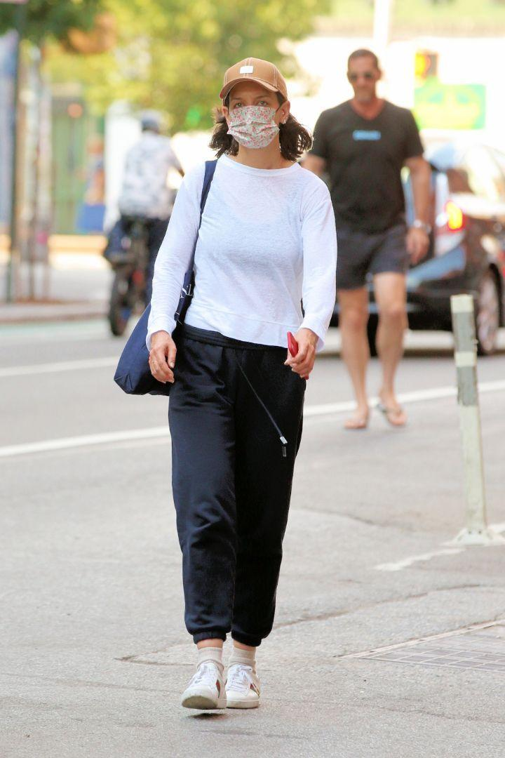 Katie Holmes returns a Citi Bike after a ride in New York City, June 29. - Credit: Christopher Peterson/Splash News