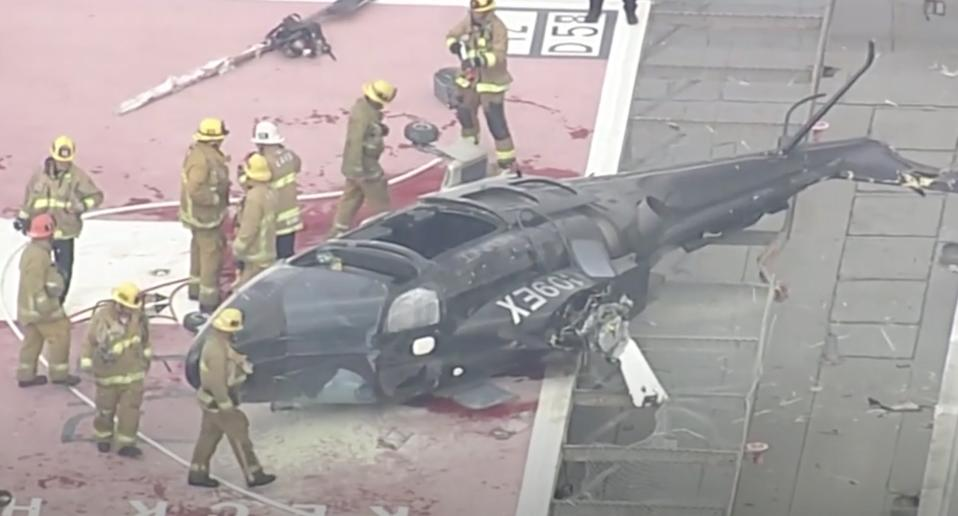 Helicopter crashed on the helipad of Keck Hospital of USC.