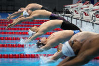 Evgeny Rylov, of the Russian Olympic Committee, swims in a men's 200-meter backstroke semifinal at the 2020 Summer Olympics, Thursday, July 29, 2021, in Tokyo, Japan. (AP Photo/Charlie Riedel)