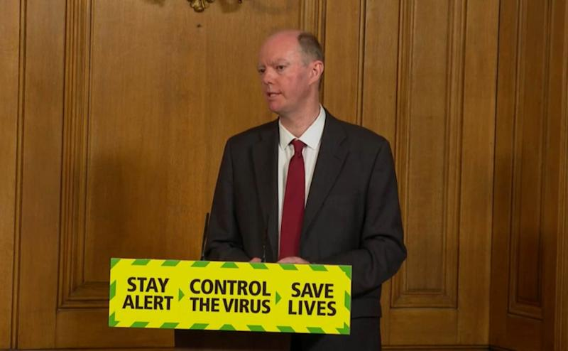 Screen grab of Chief Medical Officer Professor Chris Whitty during a media briefing in Downing Street, London, on coronavirus (COVID-19).