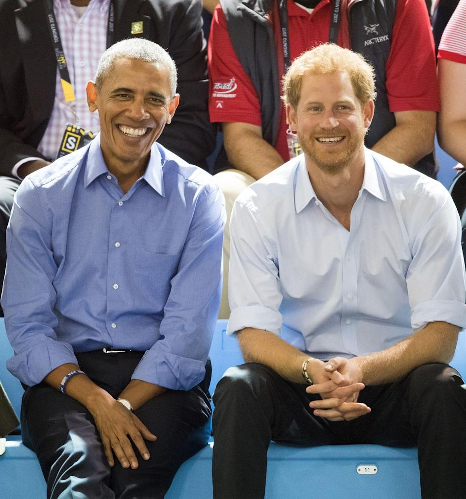 <p>Harry smiles with President Barack Obama at the Invictus Games in Toronto.</p>