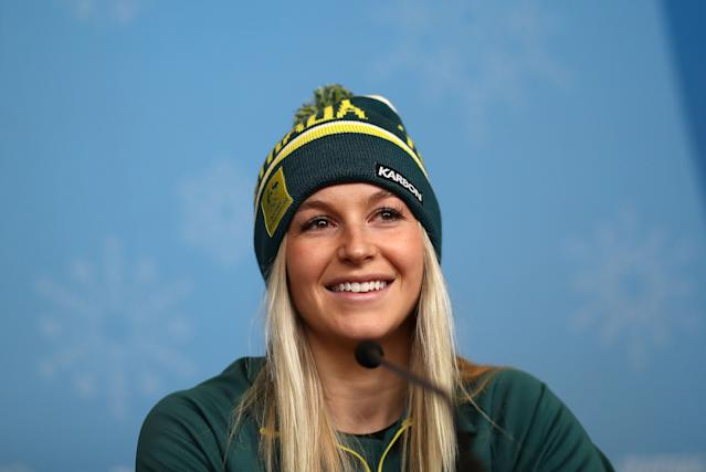 <p>PYEONGCHANG-GUN, SOUTH KOREA – FEBRUARY 07: Australian Aerial Skier Danielle Scott speaks during a press conference during previews ahead of the PyeongChang 2018 Winter Olympic Games.<br> (Getty Images) </p>