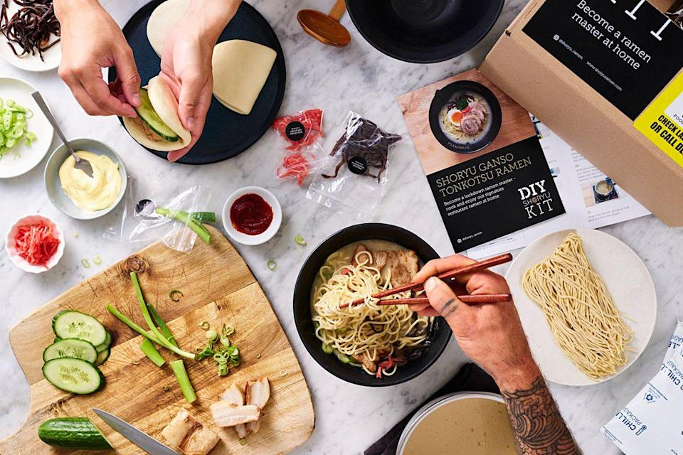 """<p><a class=""""link rapid-noclick-resp"""" href=""""https://www.shoryuramen.com/diykits"""" rel=""""nofollow noopener"""" target=""""_blank"""" data-ylk=""""slk:SHOP"""">SHOP</a></p><p>Maybe you can cook a noodle or two, but have you got a spare 12 hours to whip up a tonkotsu soup stock? OK maybe you do, but that's not to say that it isn't a hell of a lot easier to order a kit from superior ramen chain Shoryu, which start at £20 for two servings. You also get toppings like char siu BBQ pork belly, beni shoga red ginger, and kikurage mushrooms, though if you want an egg on top you'll have to set aside a whole six minutes to boil your own.</p><p><a href=""""https://www.shoryuramen.com/diykits"""" rel=""""nofollow noopener"""" target=""""_blank"""" data-ylk=""""slk:Shoryuramen.com/diykits"""" class=""""link rapid-noclick-resp"""">Shoryuramen.com/diykits</a><br></p>"""