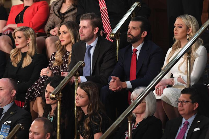 (From top R) Tiffany Trump, Donald Trump Jr., Eric Trump, Lara Trump and Senior Advisor to the President Ivanka Trump attend the State of the Union address at the US Capitol in Washington, DC, on February 5, 2019. (Photo by SAUL LOEB / AFP) (Photo credit should read SAUL LOEB/AFP/Getty Images)