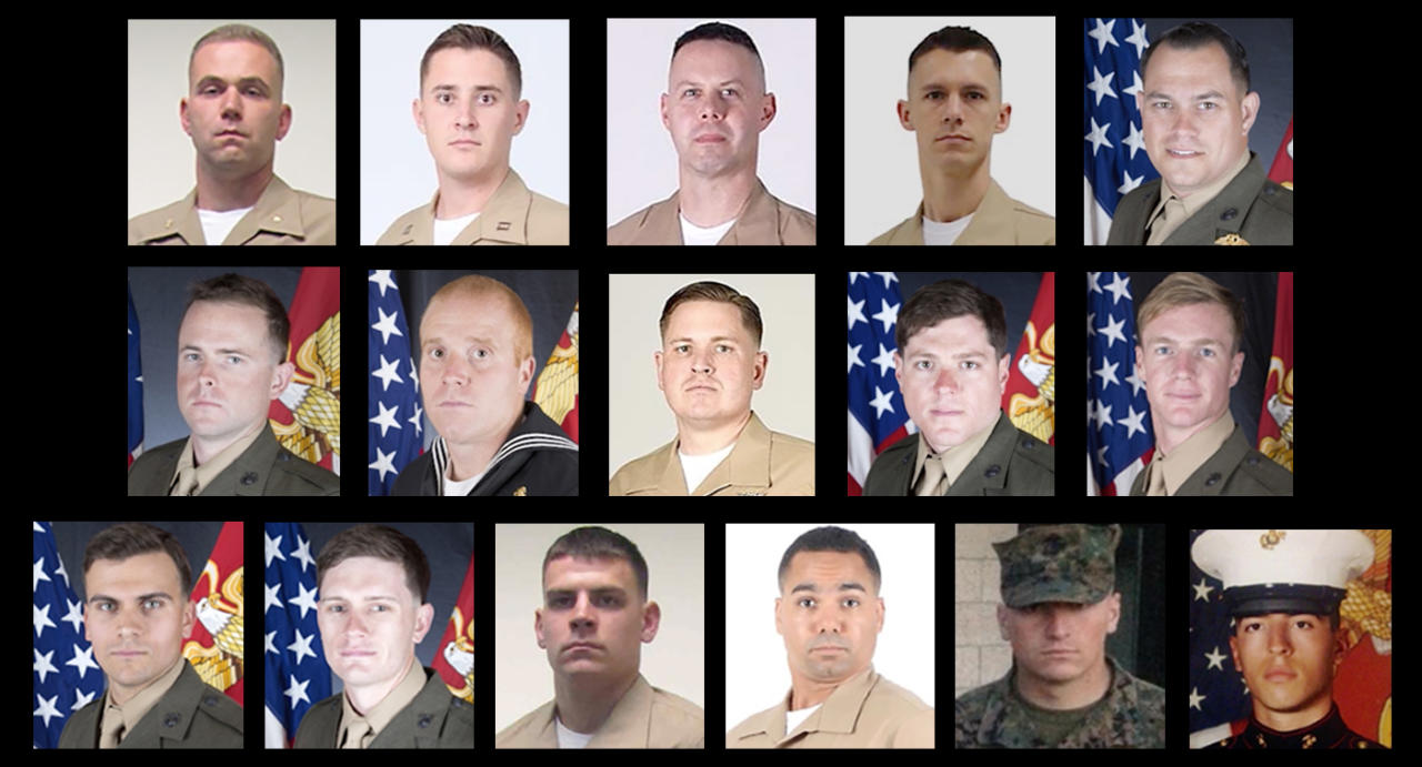 <p>Combination photo showing the 16 victims killed in a military plane crash in Mississippi. (From top left) Major Caine Goyette, Captain Sean Elliot, Gunnery Sergeant Brendan Johnson, Gunnery Sergeant Mark Hopkins, Staff Sergeant William Kundra, Staff Sergeant Robert Cox, Hospital Corpsman Second Class Ryan Lohrey, Sergeant Joshua Snowden, Sergeant Talon Leach, Sergeant Dietrich Schmieman, Sergeant Joseph Murray, Sergeant Chad Jenson, Sergeant Owen Lennon, Sergeant Julian Kevianne, Corporal Collin Schaaff, Corporal Daniel Baldassare. (Photos: U.S. Marine Corps) </p>