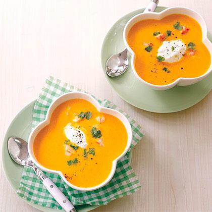 "Now there's a fresh, heathy alternative for a weeknight dinner. This soup is bright in color and flavor and can be served warm or chilled, depending on the Springtime weather.  <a rel=""nofollow"" href=""http://www.myrecipes.com/recipe/carrot-ginger-soup-3"">Carrot-Ginger Soup</a>"