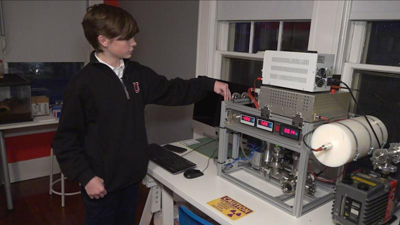 Jackson Oswalt shows off the homemade nuclear fusion reactor that he built in his playroom. (Credit: Fox News)