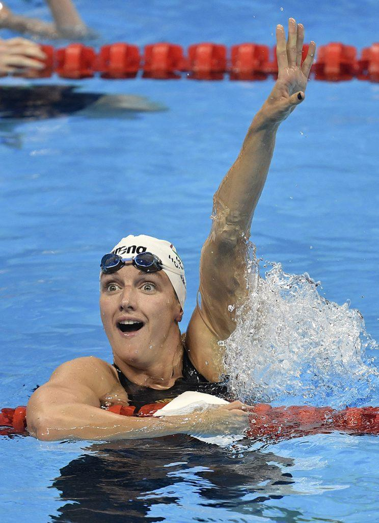 Hungary's Katinka Hosszu celebrates after coming first in a women's 400-meter individual medley heat during the swimming competitions at the 2016 Summer Olympics, Saturday, Aug. 6, 2016, in Rio de Janeiro, Brazil. (AP Photo/Martin Meissner)