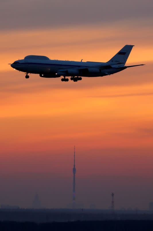 Ilyushin Il-80, Russian miltary aircraft known as the Doomsday Plane, is seen in Moscow region