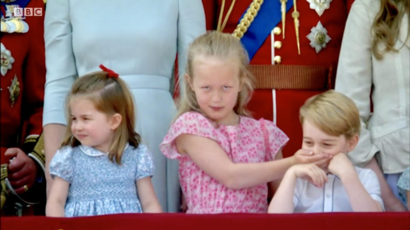 Savannah Phillips put on a meme-worthy performance at Trooping the Colour. [Photo: BBC]