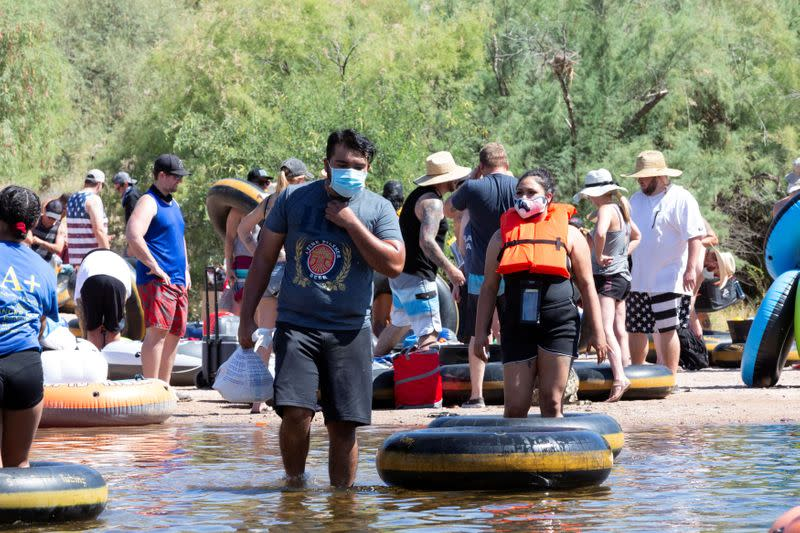 People go tubing on Salt River in Arizona