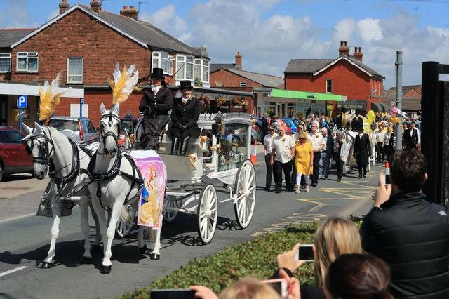 The funeral procession for Georgina Callander (Peter Byrne/PA)