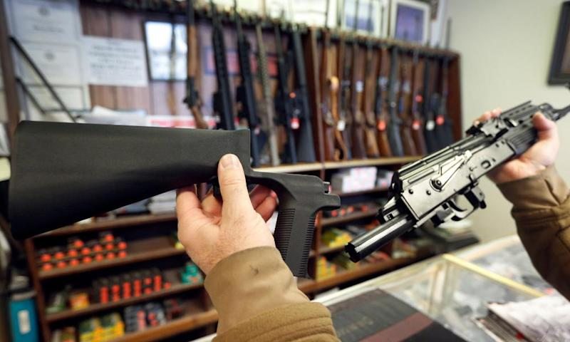 A bump-stock device at a gun store in Utah. The NRA called on the ATF to 'immediately review whether these devices comply with federal law'.
