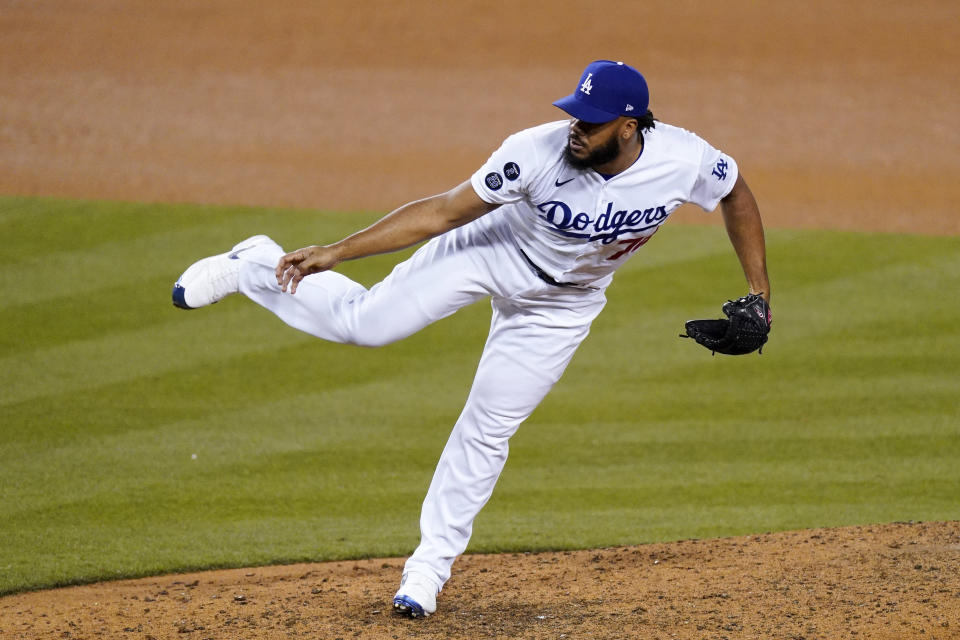 Los Angeles Dodgers relief pitcher Kenley Jansen throws to the plate during the ninth inning of a baseball game against the Arizona Diamondbacks Thursday, May 20, 2021, in Los Angeles. (AP Photo/Mark J. Terrill)