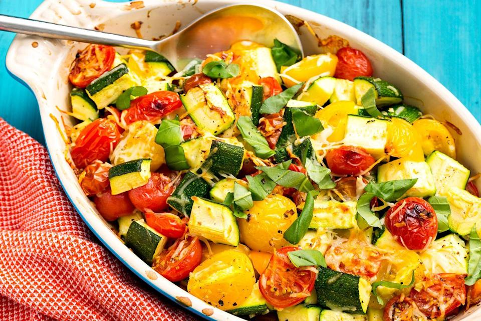 """<p>What an amazing vegetable medley!</p><p>Get the recipe from <a href=""""https://www.delish.com/cooking/recipe-ideas/recipes/a47357/zucchini-tomato-bake-recipe/"""" rel=""""nofollow noopener"""" target=""""_blank"""" data-ylk=""""slk:Delish"""" class=""""link rapid-noclick-resp"""">Delish</a>.</p>"""