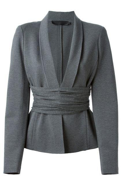 The Belted Blazer If you feel like your shape gets lost in the trendy, oversized blazers that have been popping up left and right, opt for one that has a built-in waist-accentuating detail. This is Kardashian-approved, if you ask us. Donna Karan Cross Drape Jersey Blazer,$1,427.75 $856.65, available at Farfetch.
