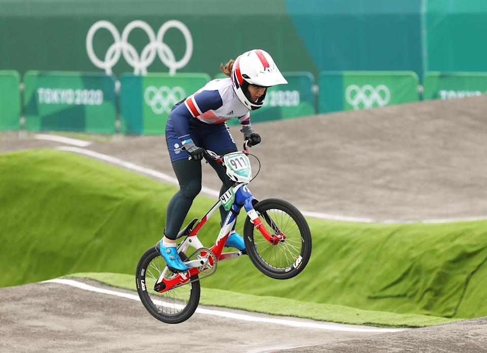 TOKYO, JAPAN - JULY 30: Bethany Shriever of Team Great Britain jumps during the Women's BMX semifinal heat 2, run 1 on day seven of the Tokyo 2020 Olympic Games at Ariake Urban Sports Park on July 30, 2021 in Tokyo, Japan. (Photo by Ezra Shaw/Getty Images)