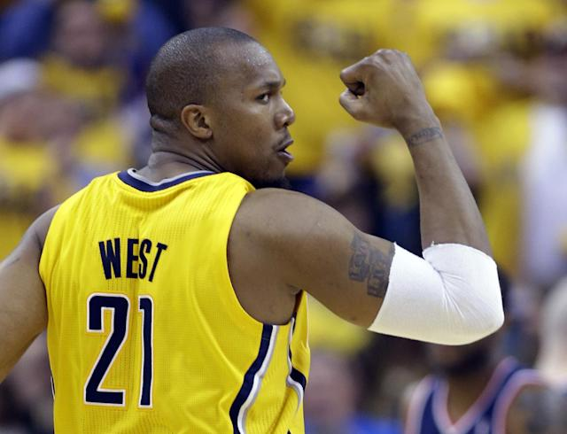 Indiana Pacers forward David West celebrates a bucket against the Washington Wizards during the second quarter of game 1 of the Eastern Conference semifinal NBA basketball playoff series in Indianapolis, Monday, May 5, 2014(AP Photo/Michael Conroy)