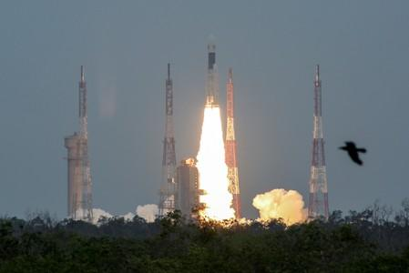 India's Geosynchronous Satellite Launch Vehicle Mk III-M1 blasts off carrying Chandrayaan-2, from the Satish Dhawan space centre at Sriharikota