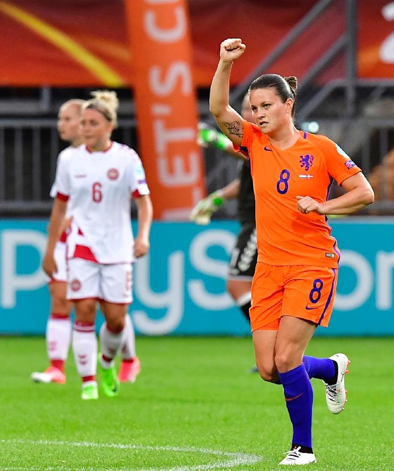 Netherlands' midfielder Sherida Spitse reacts after scoring on July 20, 2017 (AFP Photo/TOBIAS SCHWARZ)
