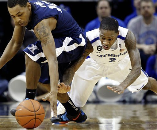 Memphis' Antonio Barton (2) scrambles for a loose ball with Xavier's Mark Lyons, left, during first half of an NCAA college basketball game Saturday, Feb. 4, 2012, in Memphis, Tenn. (AP Photo/The Commercial Appeal, Mark Weber)