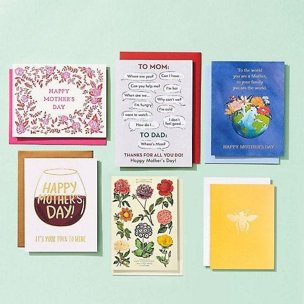 """<h2>Paper Source</h2><br><strong>Best For: Mother's Day Card Bundles</strong><br>Snag a stunning card for mom, grandma, step-mom, and all your favorite caretakers with a cost-effective card bundle from Paper Source. With these packages, the one-stop shop for fashionable stationery goods has you covered for this year, next year, and maybe even the year after that. <br><br><em>Shop</em> <strong><em><a href=""""http://papersource.com"""" rel=""""nofollow noopener"""" target=""""_blank"""" data-ylk=""""slk:Paper Source"""" class=""""link rapid-noclick-resp"""">Paper Source</a></em></strong><br><br><strong>Paper Source</strong> Mother's Day Card Bundle For All Moms, $, available at <a href=""""https://go.skimresources.com/?id=30283X879131&url=https%3A%2F%2Fwww.papersource.com%2Fgreeting-cards%2Fmothers-day-card-bundle-for-all-moms-10013373.html"""" rel=""""nofollow noopener"""" target=""""_blank"""" data-ylk=""""slk:Paper Source"""" class=""""link rapid-noclick-resp"""">Paper Source</a>"""