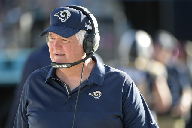 FILE - In this Oct. 15, 2017, file photo, Los Angeles Rams defensive coordinator Wade Phillips watches from the sideline during the first half of an NFL football game against the Jacksonville Jaguars, in Jacksonville, Fla. Half of the Denver Broncos locker room can't wait to see Rams defensive coordinator Wade Phillips on Sunday _ the defensive portion. Phillips was their leader when the Broncos were riding firetrucks downtown with Von Miller showing off the Super Bowl trophy 2 years ago. Now 71, Phillips is leading a revitalized defense in L.A. (AP Photo/Phelan M. Ebenhack, File)