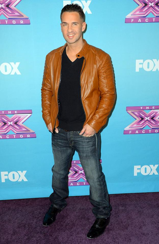 """Mike 'The Situation' Sorrentino arrives at Fox's """"The X Factor"""" Season Finale Night 1 at CBS Televison City on December 19, 2012 in Los Angeles, California."""