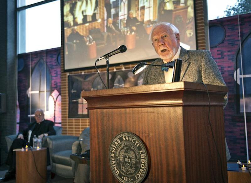 In this photo provided by St. Louis University, Thomas B. Allen, author of Possessed: The True Story of an Exorcism, speaks during a panel discussion at St. Louis University in St. Louis, Tuesday, Oct. 29, 2013, about the month-long 1949 demon-purging ritual at the school's former Alexian Brothers Hospital. The treatment of an unidentified suburban Washington, D.C., boy formed the basis for the 1971 novel by William Peter Blatty, The Exorcist, and the film of the same name two years later. (AP Photo/St. Louis University, Michelle Peltier)