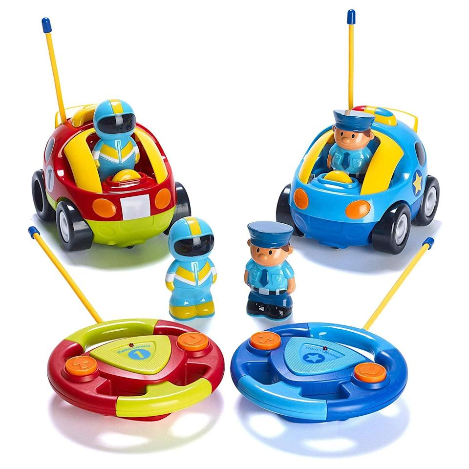 <p>With these <span>Cartoon R/C Police Car and Race Car Radio Control Toys</span> ($33), your kids can stage a police chase or race each other across the living-room floor.</p>