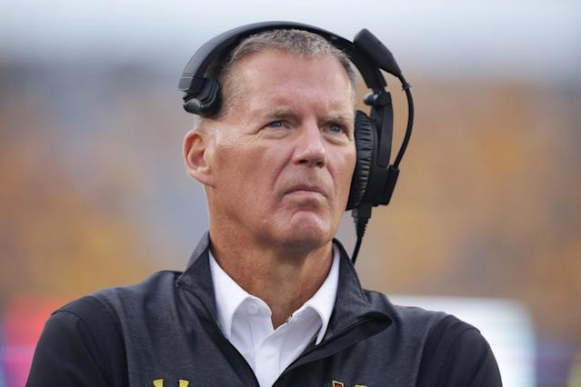 Randy Edsall was UConn's coach from 1999-2010. He then coached at Maryland from 2011-2015. (AP Photo/Raymond Thompson)