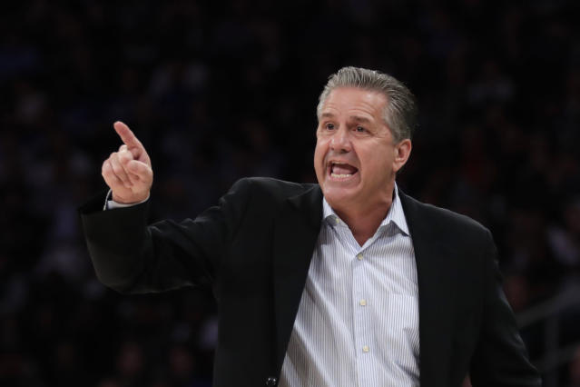 Kentucky coach John Calipari directs his team against Michigan State during the first half of an NCAA college basketball game Tuesday, Nov. 5, 2019, in New York. (AP Photo/Adam Hunger)