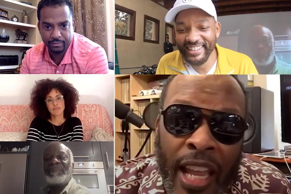 """<p>From the comfort of his garage, Will Smith took <a href=""""https://people.com/tv/will-smith-to-reunite-with-fresh-prince-of-bel-air-cast-in-new-snapchat-series/"""" rel=""""nofollow noopener"""" target=""""_blank"""" data-ylk=""""slk:a walk down memory lane"""" class=""""link rapid-noclick-resp"""">a walk down memory lane</a> with his former <em>Fresh Prince of Bel-Air</em> costars in an episode of his new series <a href=""""https://www.snapchat.com/discover/WFH_Will_From_Home/7779872392"""" rel=""""nofollow noopener"""" target=""""_blank"""" data-ylk=""""slk:Will From Home"""" class=""""link rapid-noclick-resp""""><em>Will From Home </em></a>(streamable on Snapchat as part of the platform's slate of Snap Originals).</p> <p>""""It's a beautiful pause button for us to stop and think about what's really necessary,"""" reflected the <em>Bad Boys for Life</em> star at the start of the episode 12 chat. """"How often do we even pop on a call and say 'Hey, how you doing?'""""</p> <p>""""This is actually the first time!"""" joked <a href=""""https://people.com/tag/alfonso-ribeiro/"""" rel=""""nofollow noopener"""" target=""""_blank"""" data-ylk=""""slk:Alfonso Ribeiro"""" class=""""link rapid-noclick-resp"""">Alfonso Ribeiro</a>, who played Carlton on the series, which will celebrate its 30th anniversary this year.</p> <p>Other cast members on the video call included Daphne Maxwell Reid (Aunt Vivian), <a href=""""https://people.com/movies/will-smith-talks-to-dj-jazzy-jeff-about-his-battle-with-suspected-coronavirus-in-new-snapchat-show/"""" rel=""""nofollow noopener"""" target=""""_blank"""" data-ylk=""""slk:DJ Jazzy Jeff"""" class=""""link rapid-noclick-resp"""">DJ Jazzy Jeff</a> (Jazz), <a href=""""https://people.com/tag/tatyana-ali/"""" rel=""""nofollow noopener"""" target=""""_blank"""" data-ylk=""""slk:Tatyana Ali"""" class=""""link rapid-noclick-resp"""">Tatyana Ali</a> (Ashley), <a href=""""https://people.com/tv/will-smith-reunites-with-fresh-prince-of-bel-air-cast-photo/"""" rel=""""nofollow noopener"""" target=""""_blank"""" data-ylk=""""slk:Karyn Parsons"""" class=""""link rapid-noclick-resp"""">Karyn Parsons</a> (Hilary) and <a href=""""https://people.com/"""
