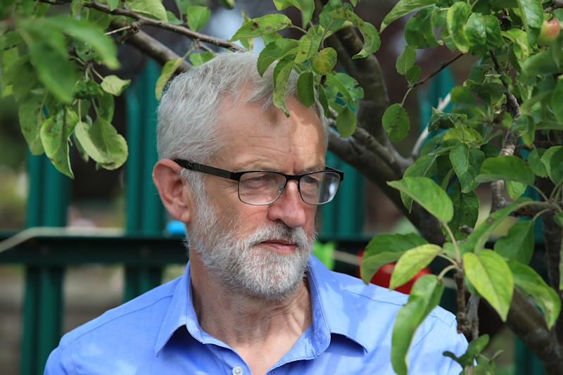 Labour leader Jeremy Corbyn at a community garden project during a visit to Macclesfield in Cheshire as he urges people and communities to come together to demand climate justice.