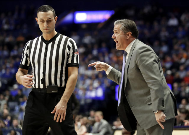 Kentucky head coach John Calipari yells from the bench in the first half of an NCAA college basketball game against Alabama at the Southeastern Conference tournament Friday, March 15, 2019, in Nashville, Tenn. (AP Photo/Mark Humphrey)