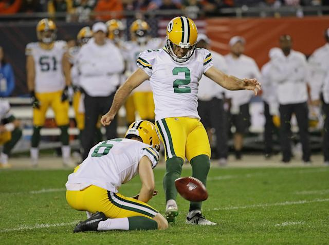 """Expect <a class=""""link rapid-noclick-resp"""" href=""""/nfl/players/8447/"""" data-ylk=""""slk:Mason Crosby"""">Mason Crosby</a> to be counted on a lot in Week 15. (Photo by Jonathan Daniel/Getty Images)"""