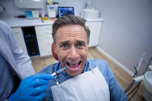 Terrified dental patient