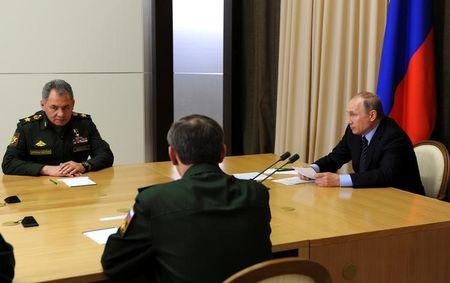 Russian President Putin and Defence Minister Shoigu attend meeting in Sochi