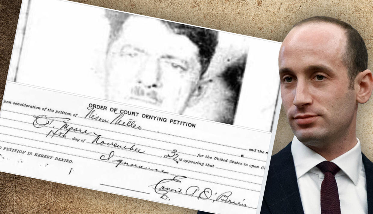 Stephen Miller with the document denying citizenship to his great-grandfather Nison Miller. (Photo illustration: Yahoo News; photos: AP, background Getty Images)