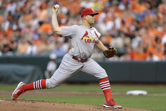 St. Louis Cardinals starting pitcher Justin Masterson throws to the Baltimore Orioles in the first inning of an interleague baseball game, Friday, Aug. 8, 2014, in Baltimore. (AP Photo/Patrick Semansky)