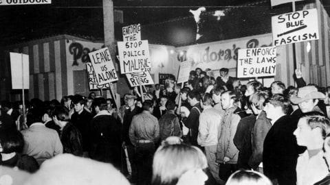 Approximately 1000 young music fans gathered at the Pandora's Box club on Sunset Strip to protest a 10pm curfew imposed by local residents during the
