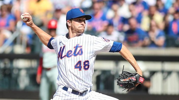 Jun 26, 2021; New York City, New York, USA; New York Mets pitcher Jacob deGrom (48) pitches in the first inning against the Philadelphia Phillies at Citi Field.