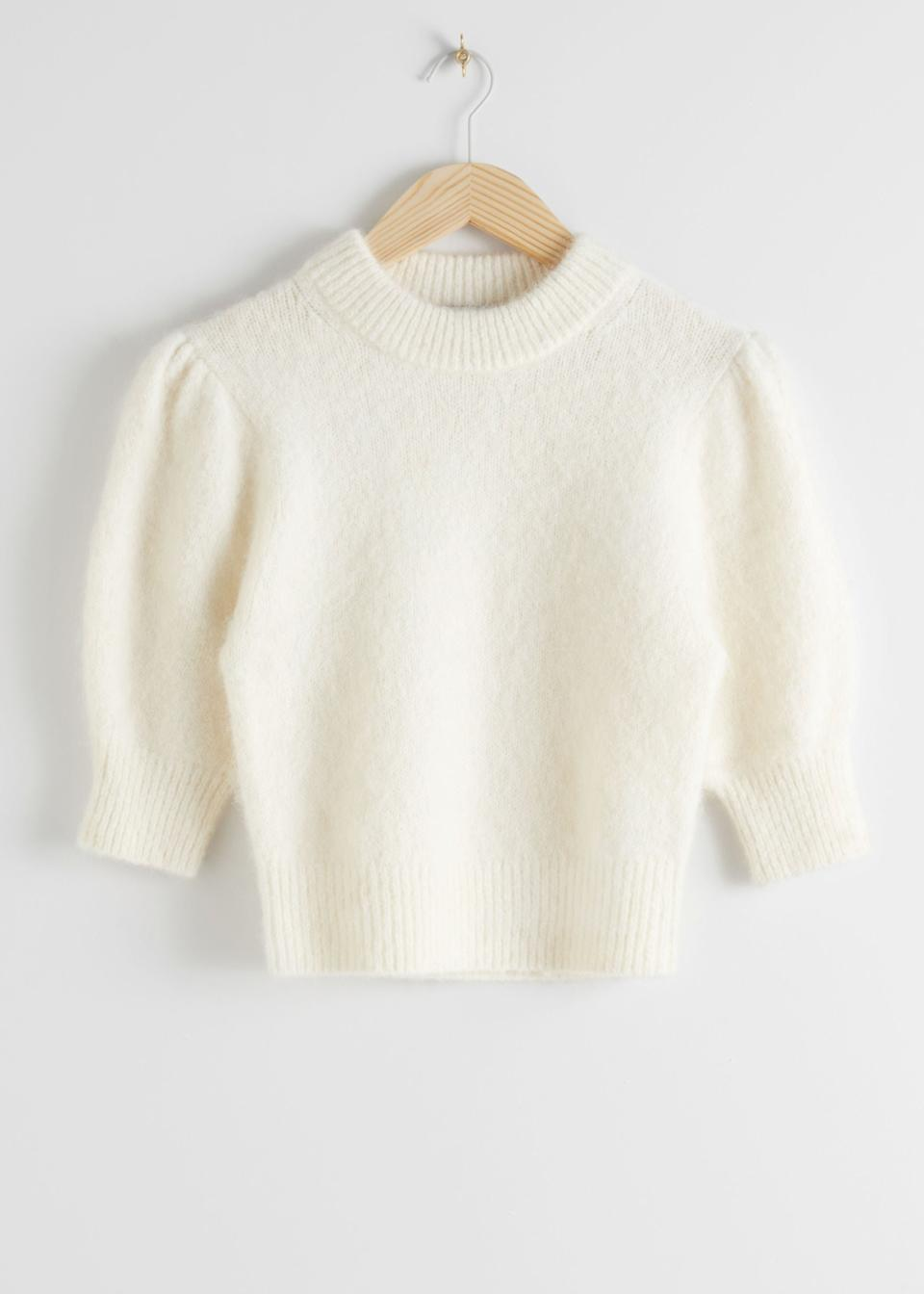 "<br><br><strong>& Other Stories</strong> Alpaca Wool Blend Puff Sleeve Jumper, $, available at <a href=""https://go.skimresources.com/?id=30283X879131&url=https%3A%2F%2Fwww.stories.com%2Fen_usd%2Fclothing%2Fknitwear%2Fsweaters%2Fproduct.alpaca-wool-blend-puff-sleeve-jumper-white.0824692003.html"" rel=""nofollow noopener"" target=""_blank"" data-ylk=""slk:& Other Stories"" class=""link rapid-noclick-resp"">& Other Stories</a>"