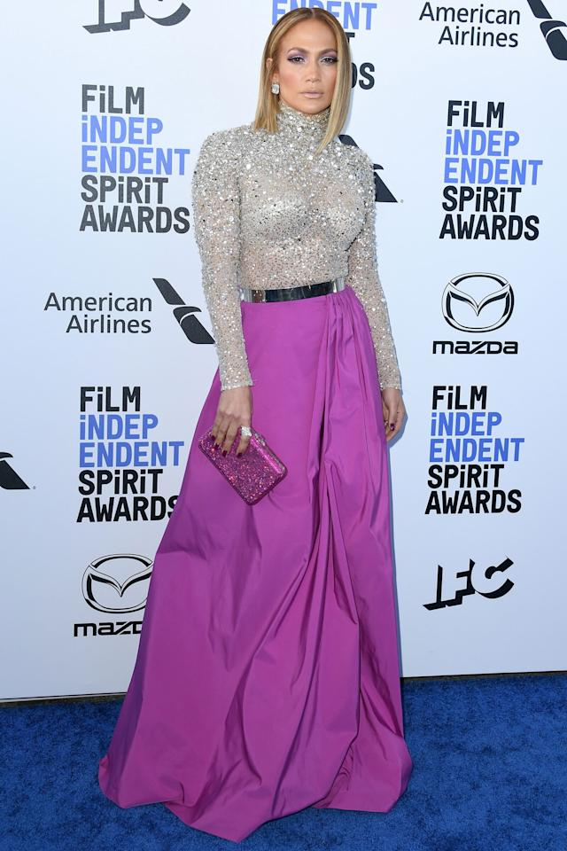 """In the home stretch of awards season and on the eve of the Academy Awards, stars hit the blue carpet in Santa Monica, Calif., for the 2020 Film Independent Spirit Awards. From <a href=""""https://ew.com/tag/jennifer-lopez/"""">Jennifer Lopez</a> to <a href=""""https://ew.com/tag/adam-sandler/"""">Adam Sandler</a>, the cast of <em><a href=""""https://ew.com/creative-work/booksmart/"""">Booksmart</a></em>, and more, keep clicking to see the <a href=""""https://ew.com/awards/2019/11/21/film-independent-spirit-award-2020-nominations-list/"""">nominees</a> and attendees on hand for the <a href=""""https://ew.com/tag/aubrey-plaza/"""">Aubrey Plaza</a>-hosted ceremony."""