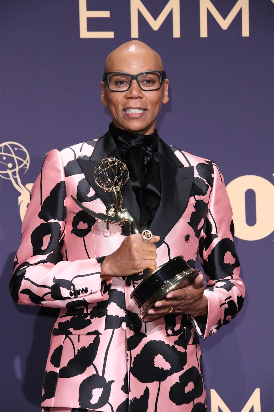 """RuPaul poses for photos after """"RuPaul's Drag Race"""" won the Emmy for outstanding competition program at the 2019 ceremony."""
