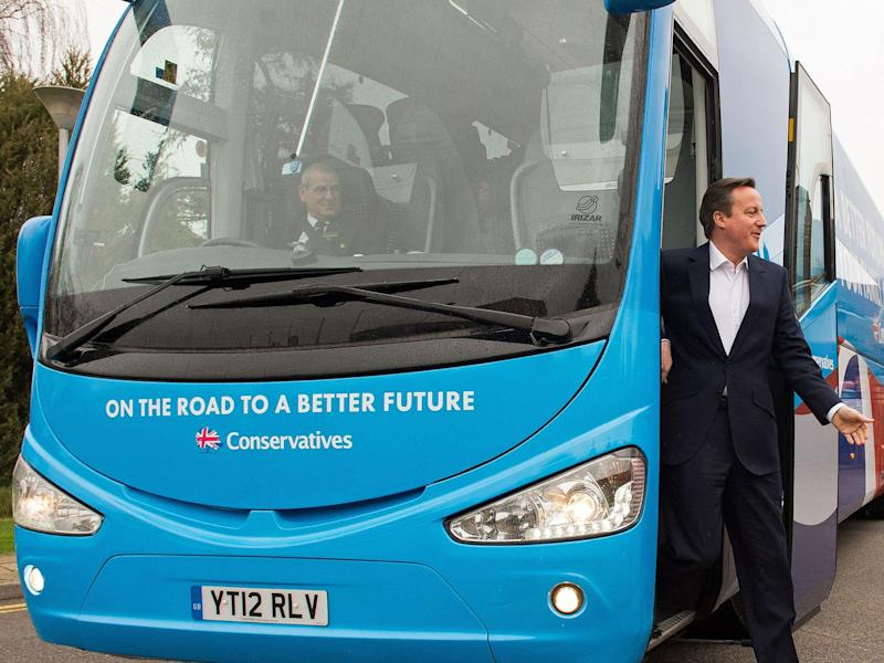 David Cameron campaigning with the blue Tory battlebus: LEON NEAL/AFP/Getty Images