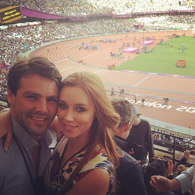 Celebrity Twitpics: The Saturdays' Una Healy and her new husband rugby player Ben Foden attended the Olympics on Sunday, where they watched Usain Bolt race to victory in the mens' 100m. The gorgeous singer tweeted this photo of her in the stadium with her man. Aww.