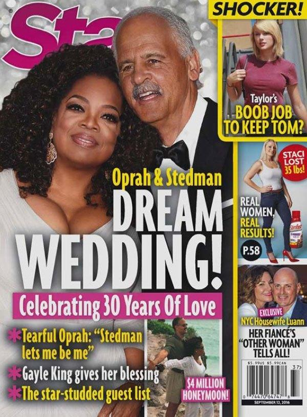 Oprah and Stedman did not have a dream wedding in 2016. (Photo: <em>Star</em> magazine)