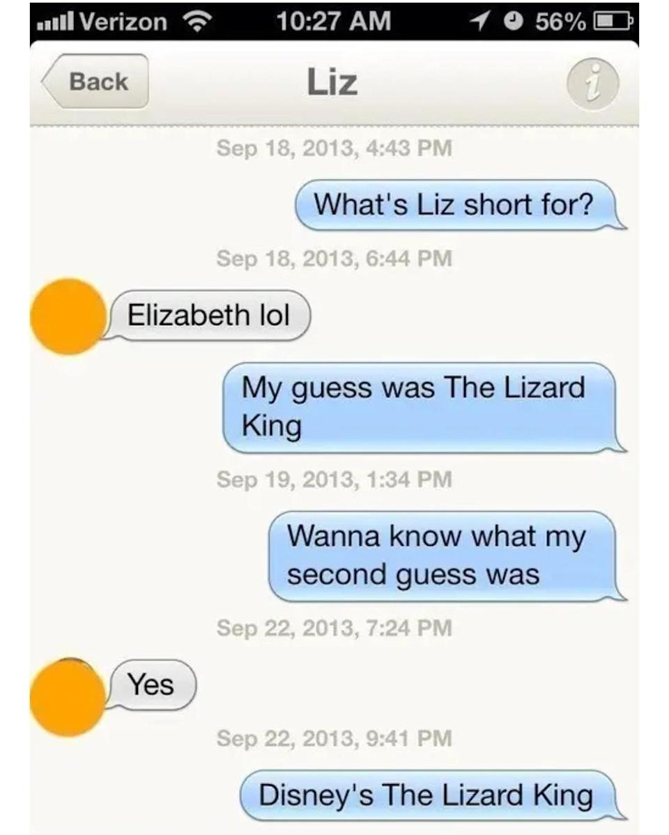 person sayinig the name liz is short of disney's the lizard king